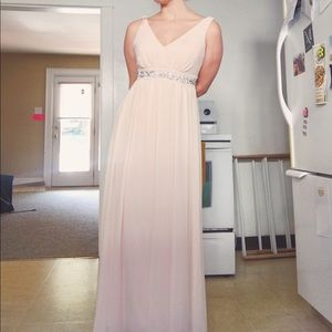 Cream blush prom gown